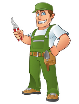 Drawing of the guy who fixes lawns